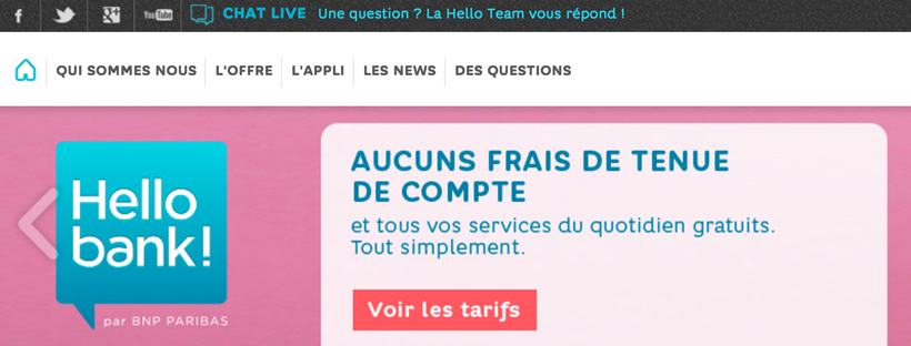 Compte sans condition Hello bank